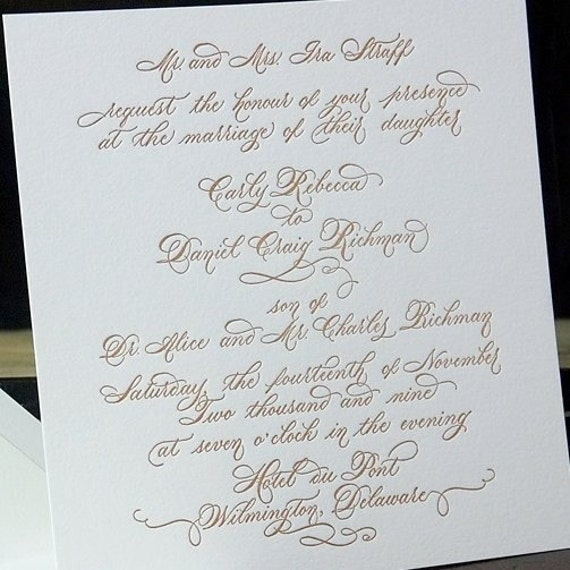 Calligraphy Wedding Invitation Design By Edanae On Etsy