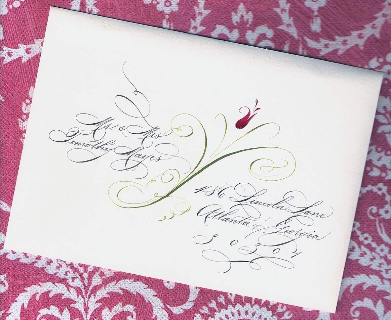 Calligraphy Wedding Invitations: Custom Wedding Invitation Addressing Elegant Calligraphy