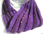 Purple knitted Multi fiber mobius cowl