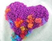 Purple and rainbow Plump heart - knitted wool and rayon