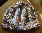 Warm and woolly hat - peach blue grey and white