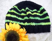 Toxic green and black striped knit hat