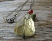 rustic lemon quartz nugget necklace with peruvian opal and carnelian - oxidized silver