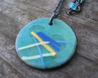SALE - abstract enameled pendant necklace - sticks n stones - oxidized silver