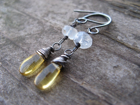 SALE - yellow quartz and mexican fire opal earrings with oxidized silver