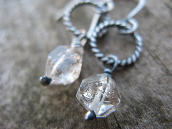 Herkimer diamond earrings - oxidized silver