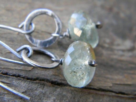 rare moss aquamarine earrings - oxidized silver - rustic