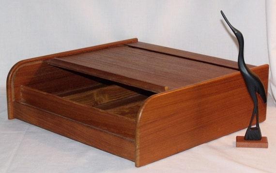 teak danish modern roll top tambour desk box. Black Bedroom Furniture Sets. Home Design Ideas
