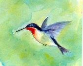 Mini Hummingbird Painting-Red Throated