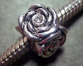 ROSES CZs and .925 Sterling Silver Biagi, Pandora, Troll Large Hole Bead