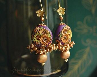 sunflower song - golden fringe earrings