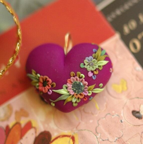 fuscia garden heart pendant