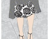 Grey Rose Mini Print