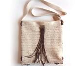 Natural Wheat Color Crocheted Shoulder Bag Suede Fringe
