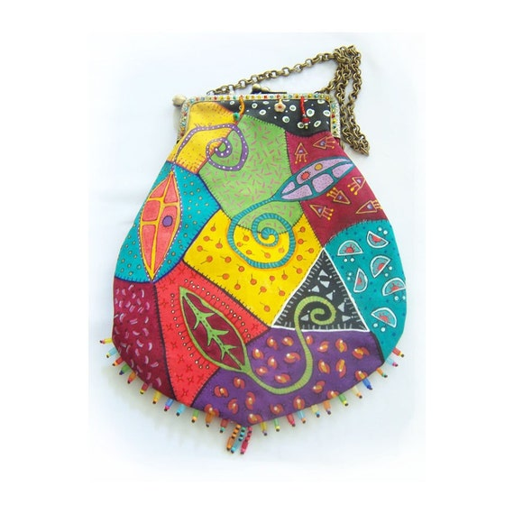 Hand Painted Crazy Quilted Bag