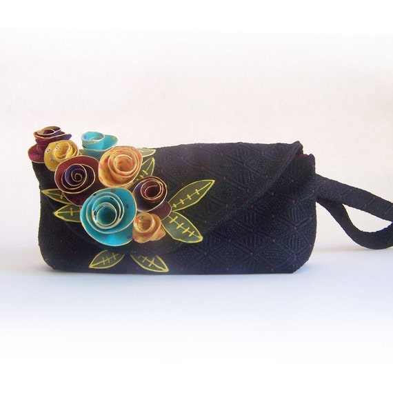 Black Wrist-let Colorful Fabric Flowers Small Purse