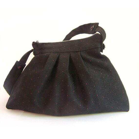 Hobo Black Bag, Big Bucket Purse, Shoulder Strap