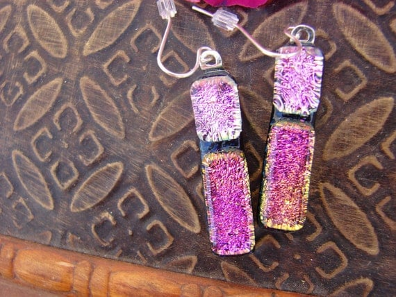 Mountain Jewel Flower Dichroic Glass Earrings Wildflower Collection