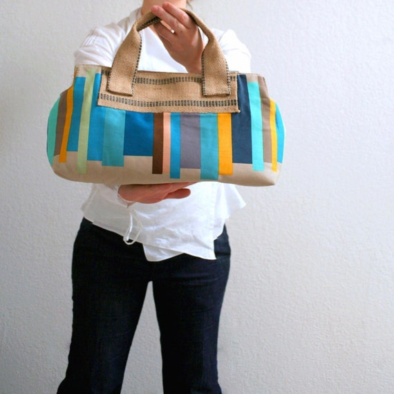 teal stripes handheld satchel
