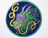 Green Dragon circle magnet