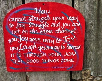 JOY, quote plaque, wall sign, fire red, Made To Order.
