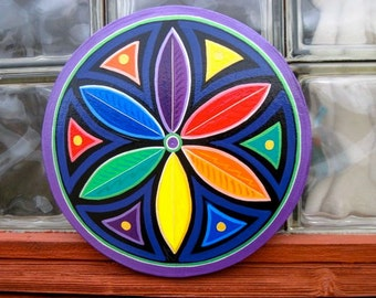 Rainbow  Mandala ,Double Rosette, Star Circle, MADE TO ORDER