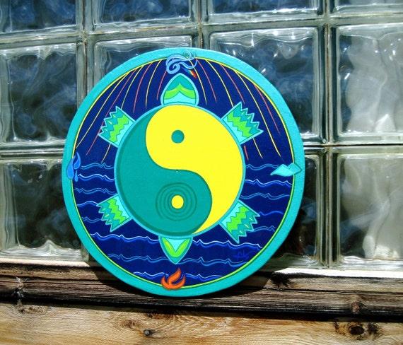 on SALE  TURTLE - YIN YANG - Star Circle - Wall Art