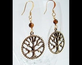 Tree of Life Earrings -- Antiqued Gold Pewter and Tigereye