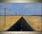 HIGHWAY LANDSCAPE Painting Large ORIGINAL Contemporary Abstract Blue Brown Black Textured Art 36x24 by BenWill