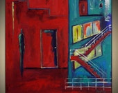Abstract ORIGINAL Expressive Painting Turquoise RED DOOR Figurative Modern Art on Canvas 28x28 by BenWill