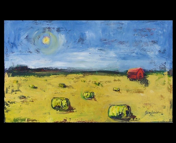 Red Barn Hayroll 36 in ORIGINAL MODERN ABSTRACT BenWill