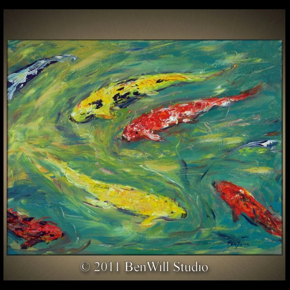 Original large modern abstract painting koi fish pond by for Original koi fish