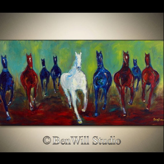 Original Southwestern HORSE Painting Colorful Western Art Brown Blue Large Oil Painting - WILD HORSES 48x24  by BenWill