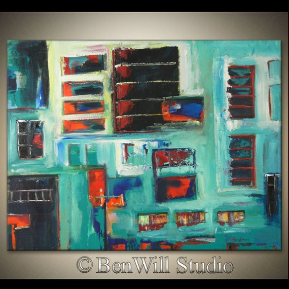 SALE 25% Off - LARGE Colorful Abstract Geometric Modern Art Black Turquoise Red ORIGINAL City Painting Urban Art 36x28 by BenWill