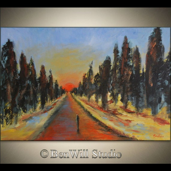 ORIGINAL Abstract Landscape Painting Figure COLORFUL Trees Blue Brown Yellow ROAD Less Traveled 36x24 by BenWill