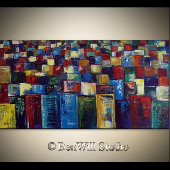 COLORFUL Abstract CITYSCAPE Oil Painting LARGE Modern Wall Art - Palette Knife Painting on Canvas 48x24 by BenWill