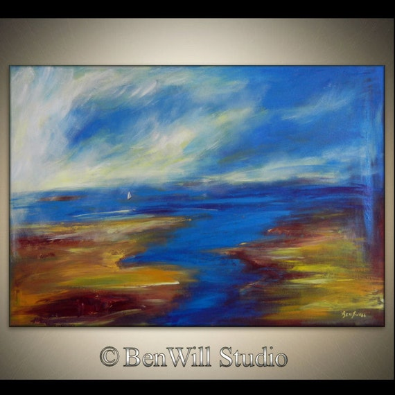 Large Abstract SEASCAPE Oil Painting ORIGINAL White SAILBOAT Impressionist Fine Art on Gallery Canvas 40x28 by BenWill