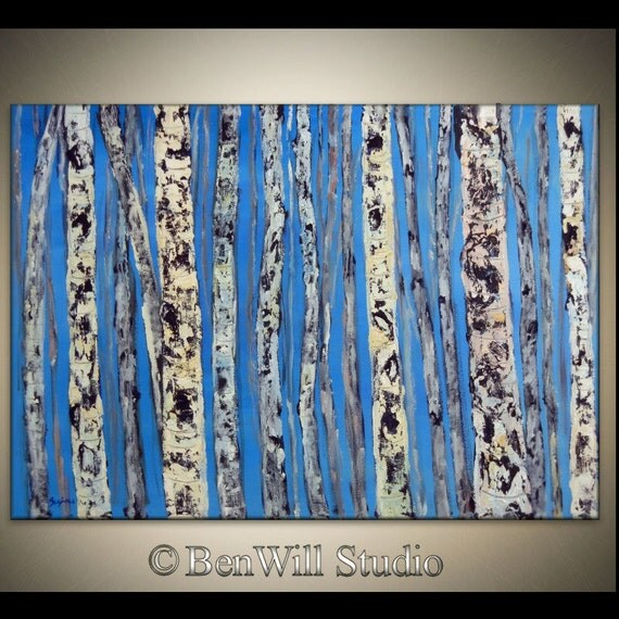 BIRCH Tree Painting ORIGINAL Brown Blue Gray White Birch Forest LARGE Fine Art Oil Painting on Gallery Canvas 40x28 by BenWill