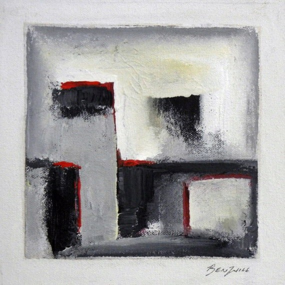 Original DAILY PAINTING Geometric Black Gray Red Contemporary Art Modern Abstract Small Oil Painting on Canvas 14x11 by BenWill