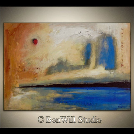 ABSTRACT Painting Blue Brown ORIGINAL Large Contemporary Art EXPRESSIONIST Minimalist Textured Fine Art on Gallery Canvas 40x28 by BenWill