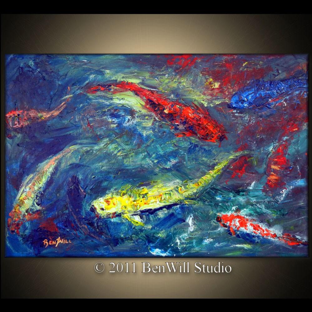 Koi fish portrait painting 49 18x36 inch original oil ... |Modern Koi Fish Painting