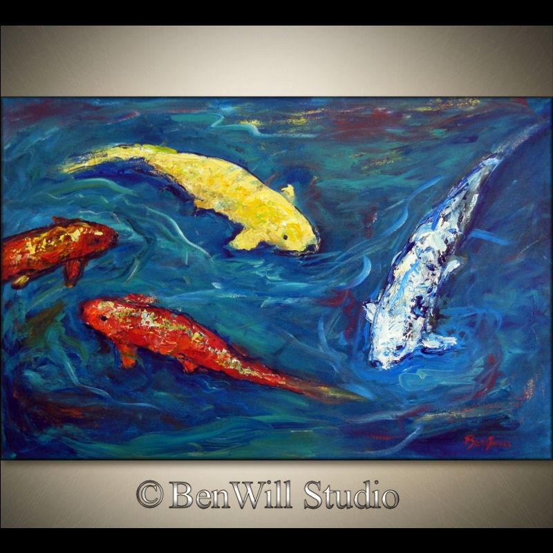 Koi fish painting large original impressionist art blue for Koi fish canvas art
