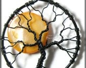 Under A Halloween Moon - Full Moon Tree of Life Pendant Orange Pearl Coin Bead Black Wire Haunted Forest Harvest Moon Jewelry Design Star - PhoenixFireDesigns