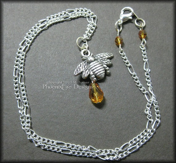 Queen Bee - Sweet Little Honey Bee Charm with Amber Swarovski Crystal on Silver Figaro Chain Necklace