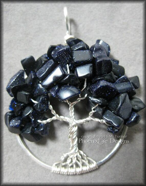 Midnight Skies - Blue Goldstone Tree of Life Pendant