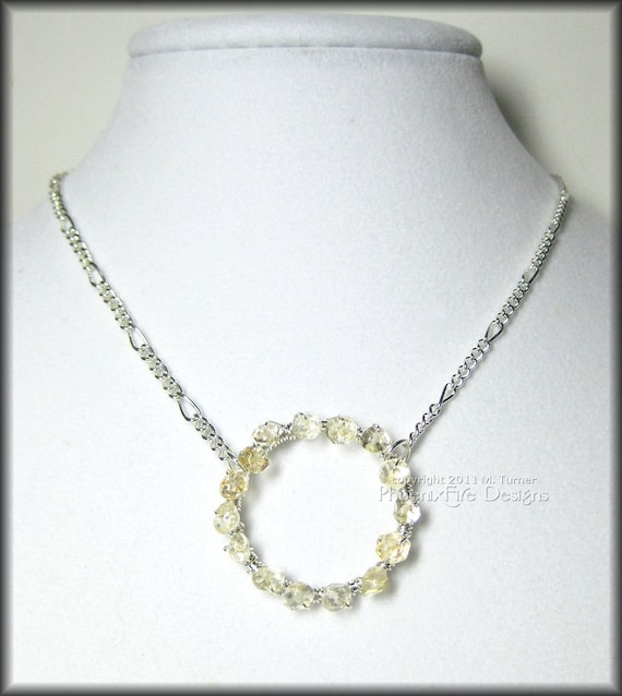 Infinity Citrine Gemstone Circle Necklace in Sterling Silver Wire Wrapped Beaded Forever Pendant