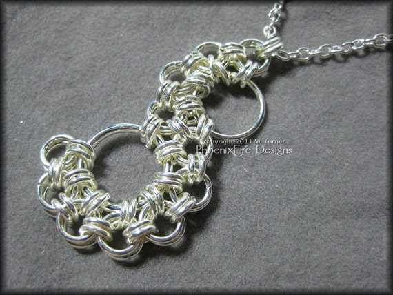 Silver Stepping Stone Chain Mail Pendant Necklace Holiday Gift Idea