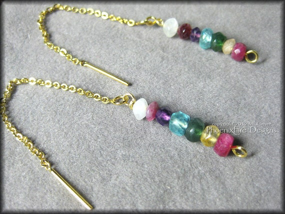 Rainbow Gemstone Threader 14K Gold Earrings (Ruby Yellow Sapphire Green Aventurine Blue Apatite  Amethyst Pink Tourmaline Rainbow Moonstone)
