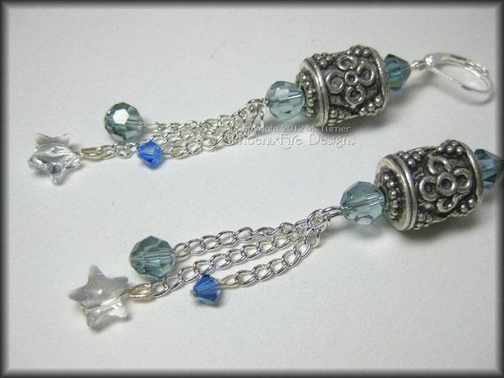 Silver Bali Earrings Swarovski Crystal Dangles Stars Blue Aqua Steel Grey Chain Long Length Whimsical Gypsy Style