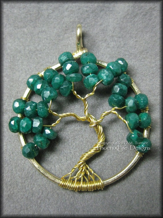 May Tree - 14k Gold Emerald Tree of Life Pendant May Birthstone Birthday Gift Idea Natural Genuine Emerald Wire Wrapped